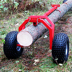 Rear log carrier support for log haulers