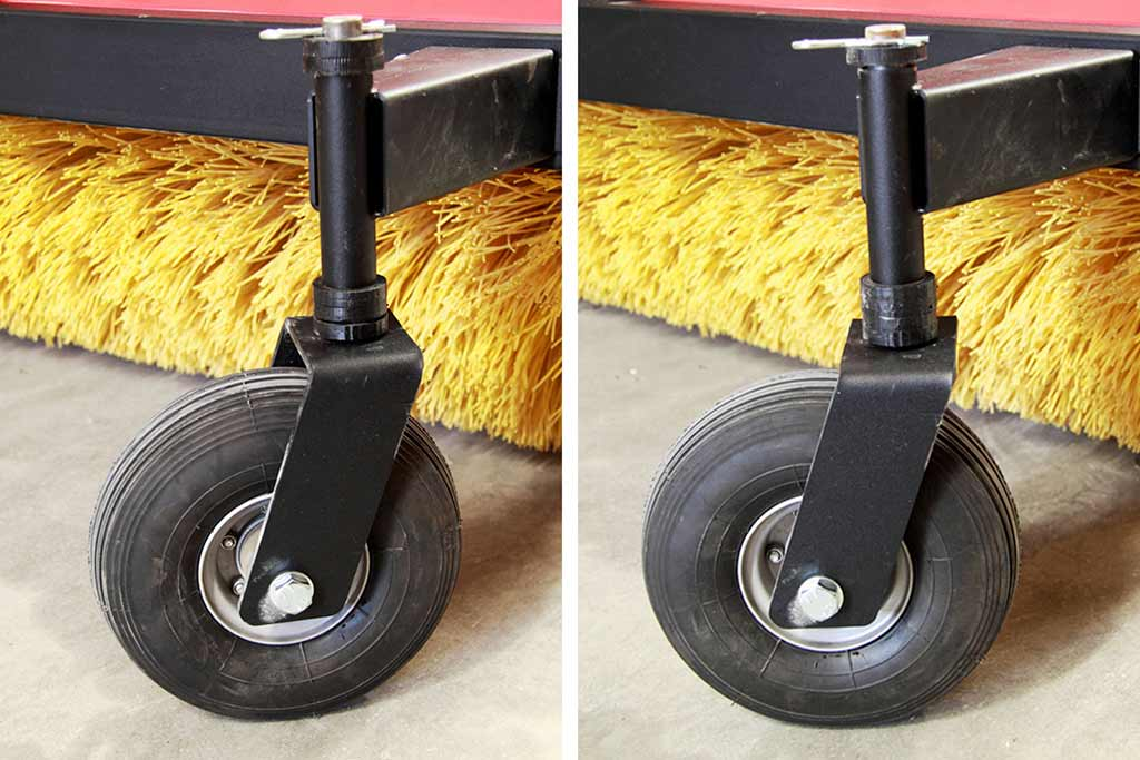 Rotary broom adjustable wheel hight